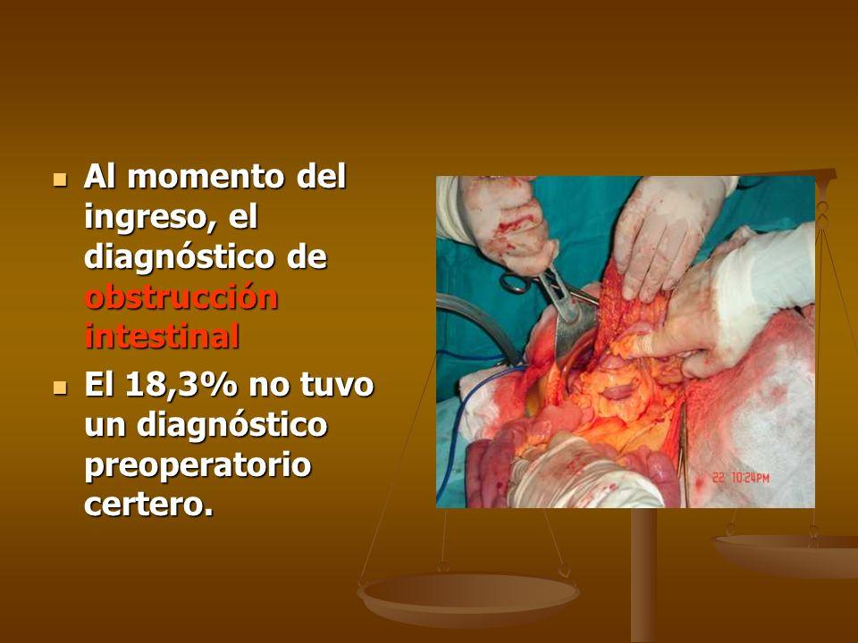 Al momento del ingreso, el diagnóstico de obstrucción intestinal Al momento del ingreso, el diagnóstico de obstrucción intestinal El 18,3% no tuvo un