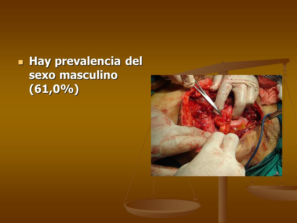 Hay prevalencia del sexo masculino (61,0%) Hay prevalencia del sexo masculino (61,0%)