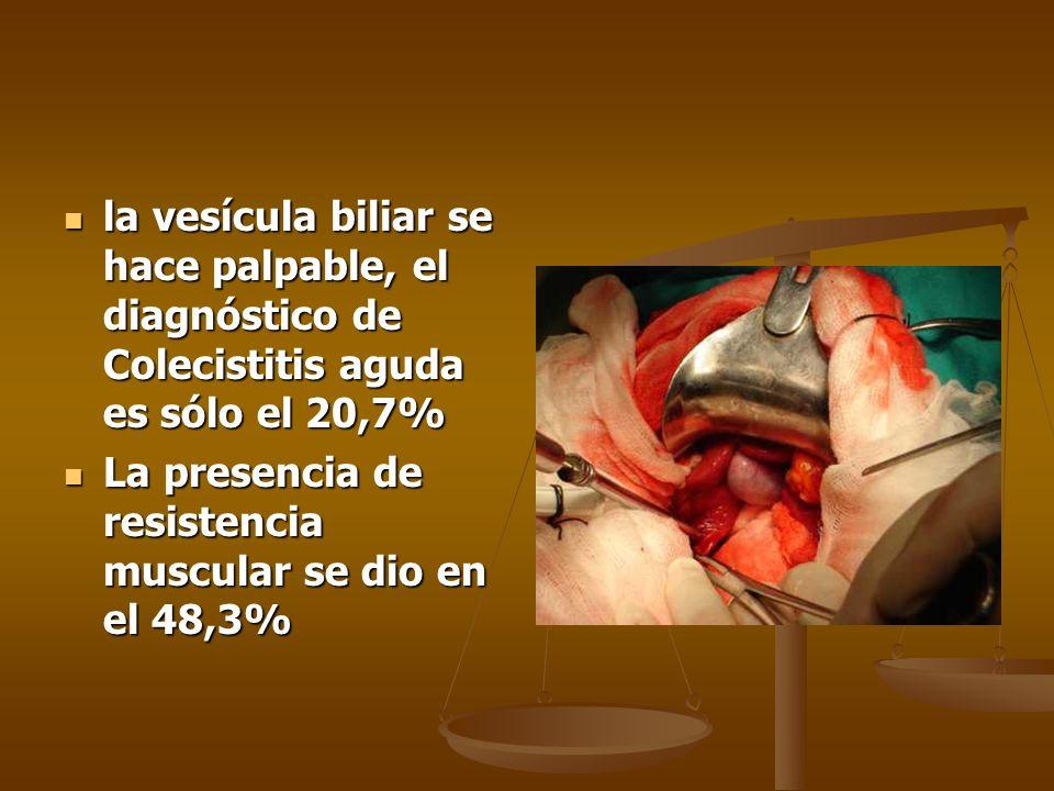 la vesícula biliar se hace palpable, el diagnóstico de Colecistitis aguda es sólo el 20,7% la vesícula biliar se hace palpable, el diagnóstico de Cole