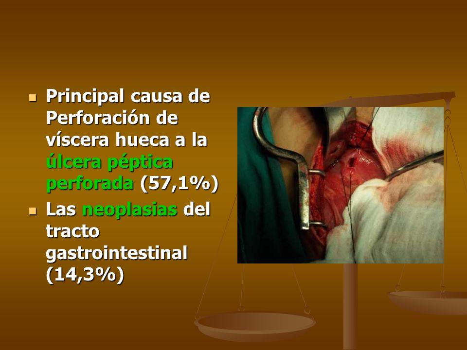 Principal causa de Perforación de víscera hueca a la úlcera péptica perforada (57,1%) Principal causa de Perforación de víscera hueca a la úlcera pépt