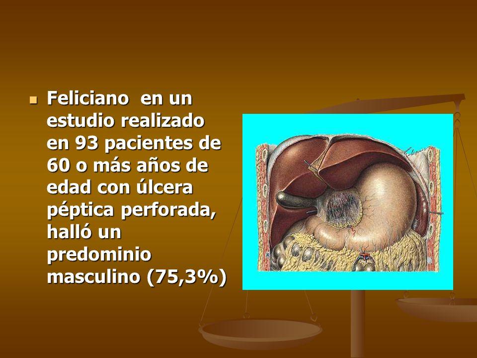 Feliciano en un estudio realizado en 93 pacientes de 60 o más años de edad con úlcera péptica perforada, halló un predominio masculino (75,3%) Felicia