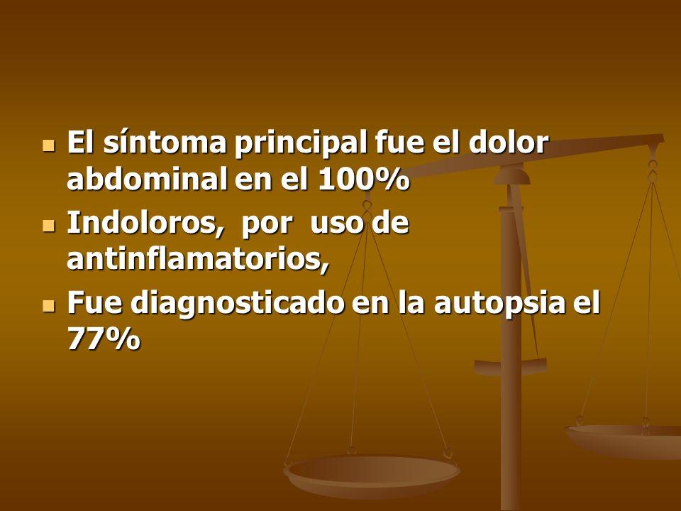 El síntoma principal fue el dolor abdominal en el 100% El síntoma principal fue el dolor abdominal en el 100% Indoloros, por uso de antinflamatorios,