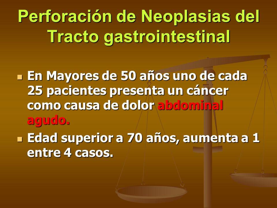 Perforación de Neoplasias del Tracto gastrointestinal En Mayores de 50 años uno de cada 25 pacientes presenta un cáncer como causa de dolor abdominal