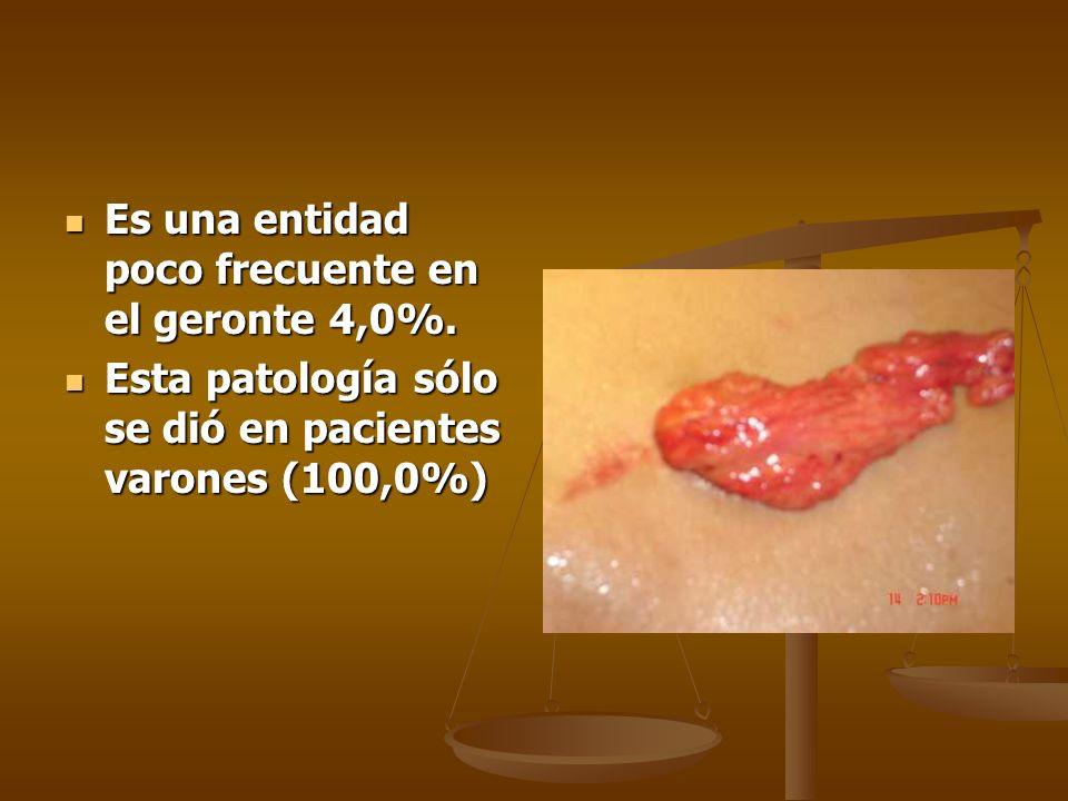 Es una entidad poco frecuente en el geronte 4,0%. Es una entidad poco frecuente en el geronte 4,0%. Esta patología sólo se dió en pacientes varones (1