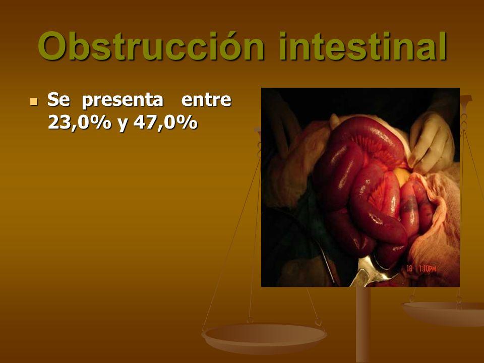Obstrucción intestinal Se presenta entre 23,0% y 47,0% Se presenta entre 23,0% y 47,0%