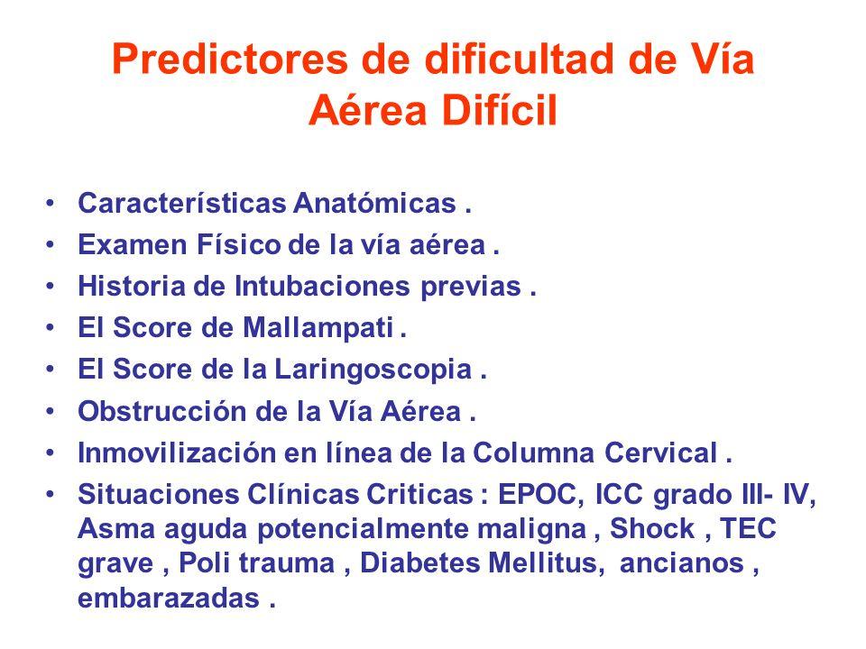 Predictores de dificultad de Vía Aérea Difícil Características Anatómicas. Examen Físico de la vía aérea. Historia de Intubaciones previas. El Score d