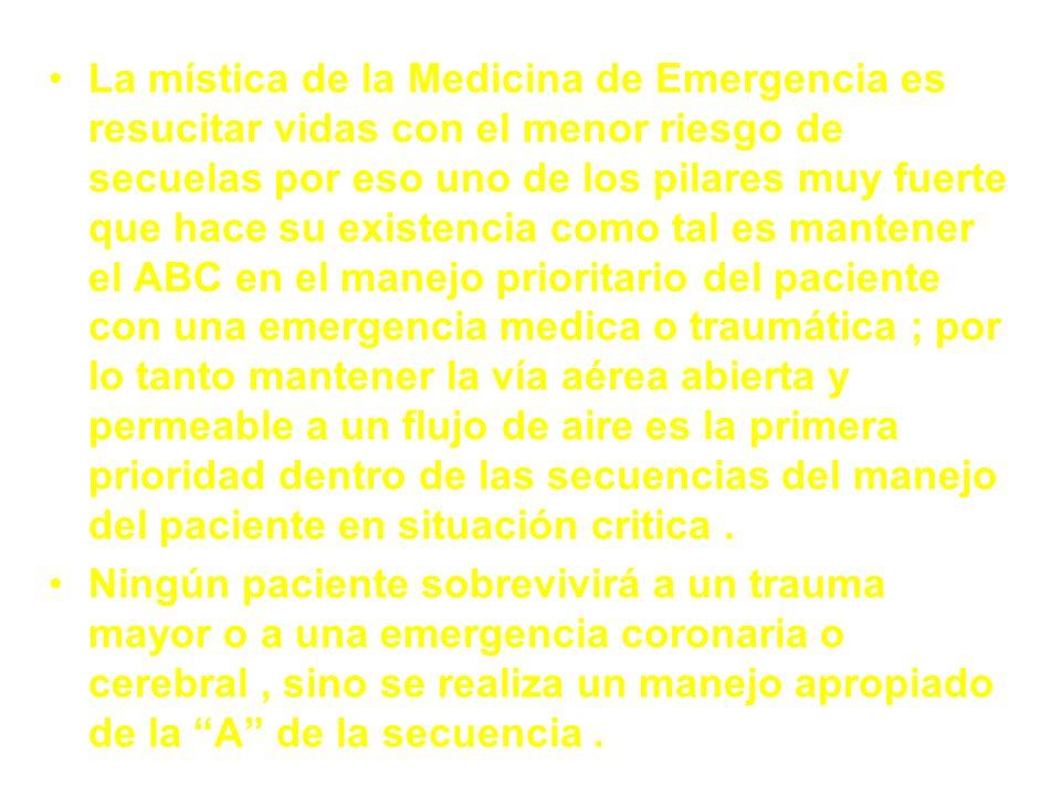 La mística de la Medicina de Emergencia es resucitar vidas con el menor riesgo de secuelas por eso uno de los pilares muy fuerte que hace su existenci