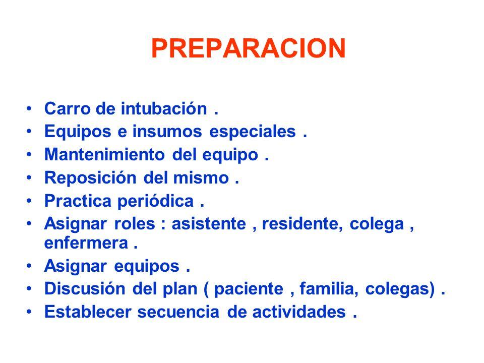 PREPARACION Carro de intubación. Equipos e insumos especiales. Mantenimiento del equipo. Reposición del mismo. Practica periódica. Asignar roles : asi