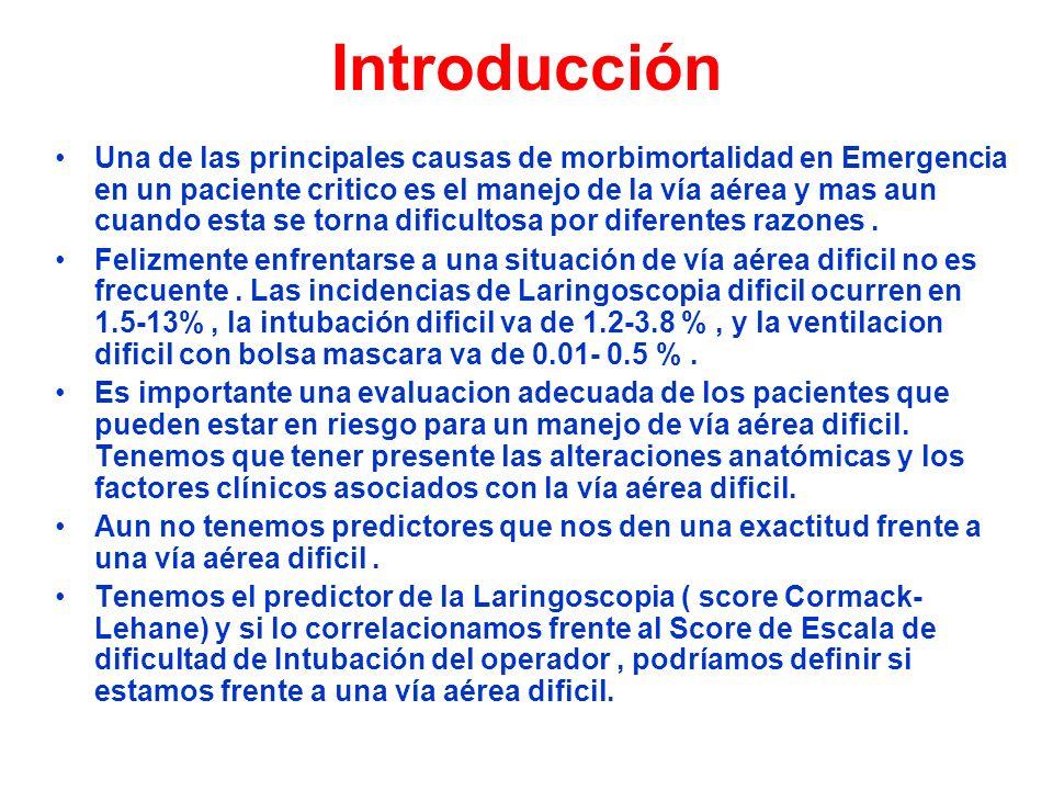 Introducción Una de las principales causas de morbimortalidad en Emergencia en un paciente critico es el manejo de la vía aérea y mas aun cuando esta