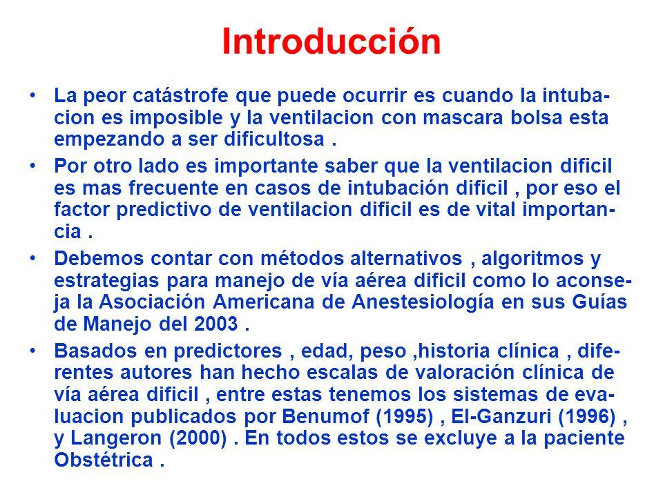 Introducción La peor catástrofe que puede ocurrir es cuando la intuba- cion es imposible y la ventilacion con mascara bolsa esta empezando a ser dific