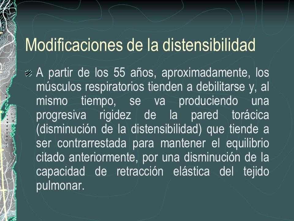 Modificaciones de la distensibilidad A partir de los 55 años, aproximadamente, los músculos respiratorios tienden a debilitarse y, al mismo tiempo, se