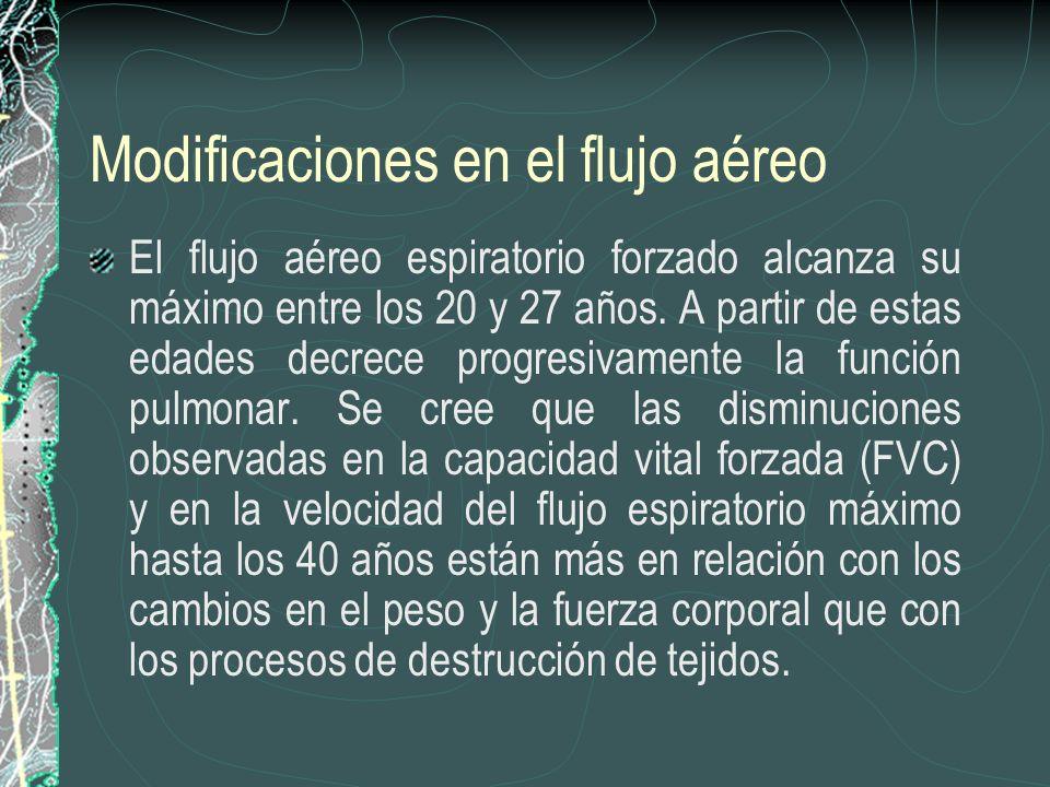 Modificaciones en el flujo aéreo El flujo aéreo espiratorio forzado alcanza su máximo entre los 20 y 27 años. A partir de estas edades decrece progres