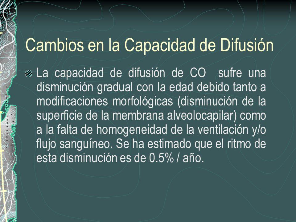 Cambios en la Capacidad de Difusión La capacidad de difusión de CO sufre una disminución gradual con la edad debido tanto a modificaciones morfológica
