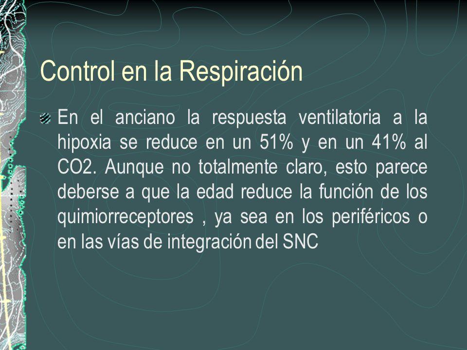 Control en la Respiración En el anciano la respuesta ventilatoria a la hipoxia se reduce en un 51% y en un 41% al CO2. Aunque no totalmente claro, est