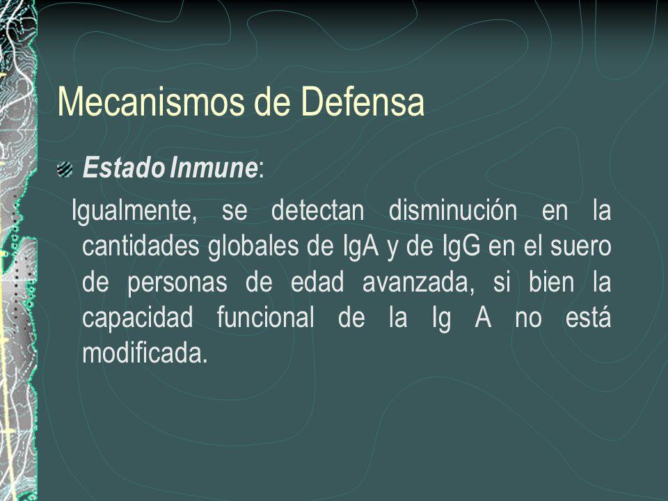 Mecanismos de Defensa Estado Inmune : Igualmente, se detectan disminución en la cantidades globales de IgA y de IgG en el suero de personas de edad av