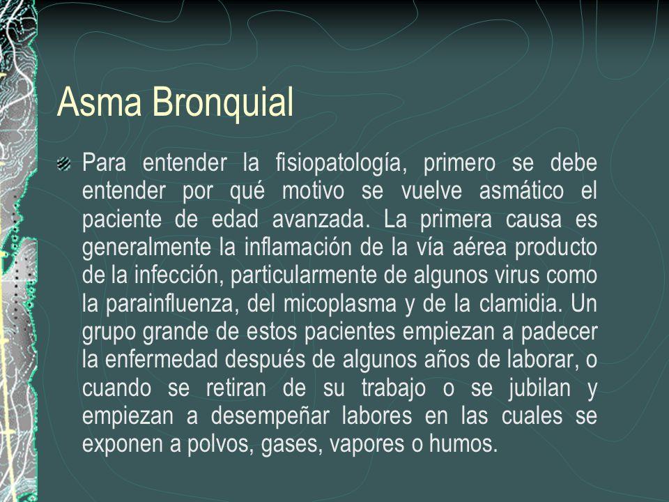 Asma Bronquial Para entender la fisiopatología, primero se debe entender por qué motivo se vuelve asmático el paciente de edad avanzada. La primera ca