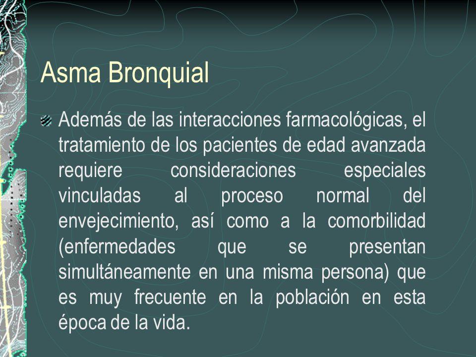 Asma Bronquial Además de las interacciones farmacológicas, el tratamiento de los pacientes de edad avanzada requiere consideraciones especiales vincul