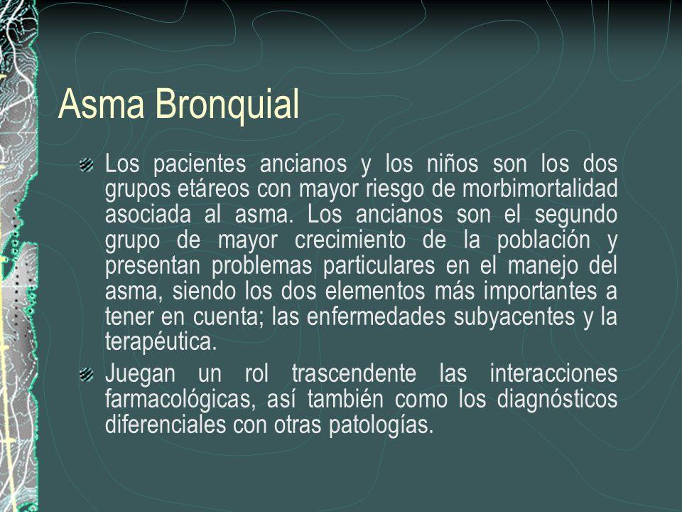 Asma Bronquial Los pacientes ancianos y los niños son los dos grupos etáreos con mayor riesgo de morbimortalidad asociada al asma. Los ancianos son el