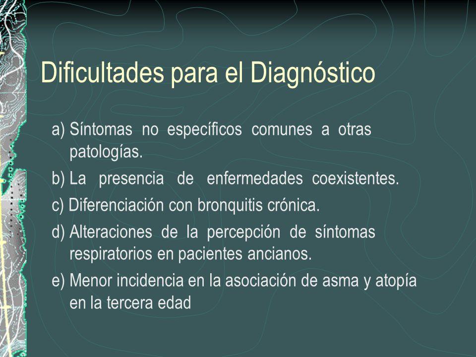 Dificultades para el Diagnóstico a) Síntomas no específicos comunes a otras patologías. b) La presencia de enfermedades coexistentes. c) Diferenciació