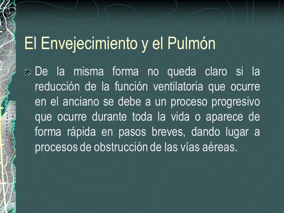 El Envejecimiento y el Pulmón De la misma forma no queda claro si la reducción de la función ventilatoria que ocurre en el anciano se debe a un proces