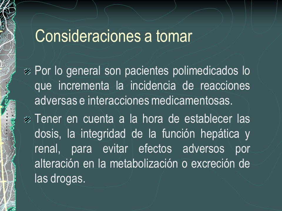 Consideraciones a tomar Por lo general son pacientes polimedicados lo que incrementa la incidencia de reacciones adversas e interacciones medicamentos