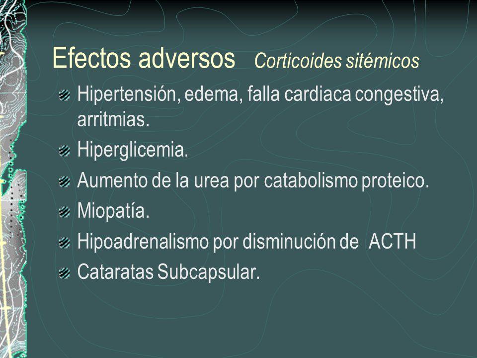 Efectos adversos Corticoides sitémicos Hipertensión, edema, falla cardiaca congestiva, arritmias. Hiperglicemia. Aumento de la urea por catabolismo pr