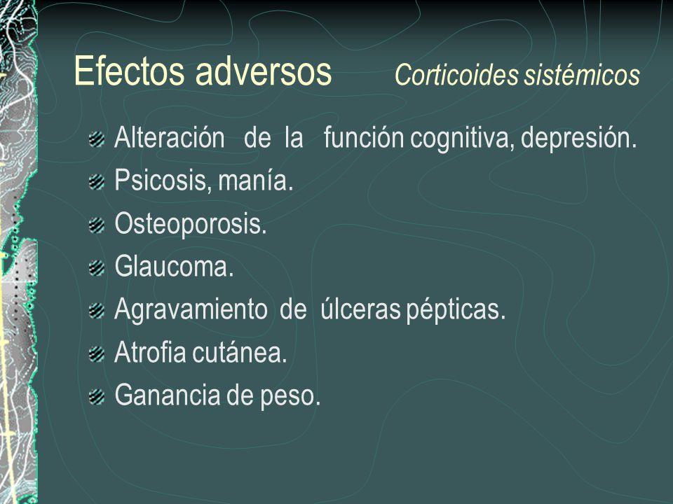 Efectos adversos Corticoides sistémicos Alteración de la función cognitiva, depresión. Psicosis, manía. Osteoporosis. Glaucoma. Agravamiento de úlcera