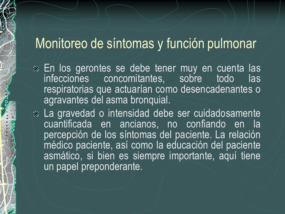 Monitoreo de síntomas y función pulmonar En los gerontes se debe tener muy en cuenta las infecciones concomitantes, sobre todo las respiratorias que a