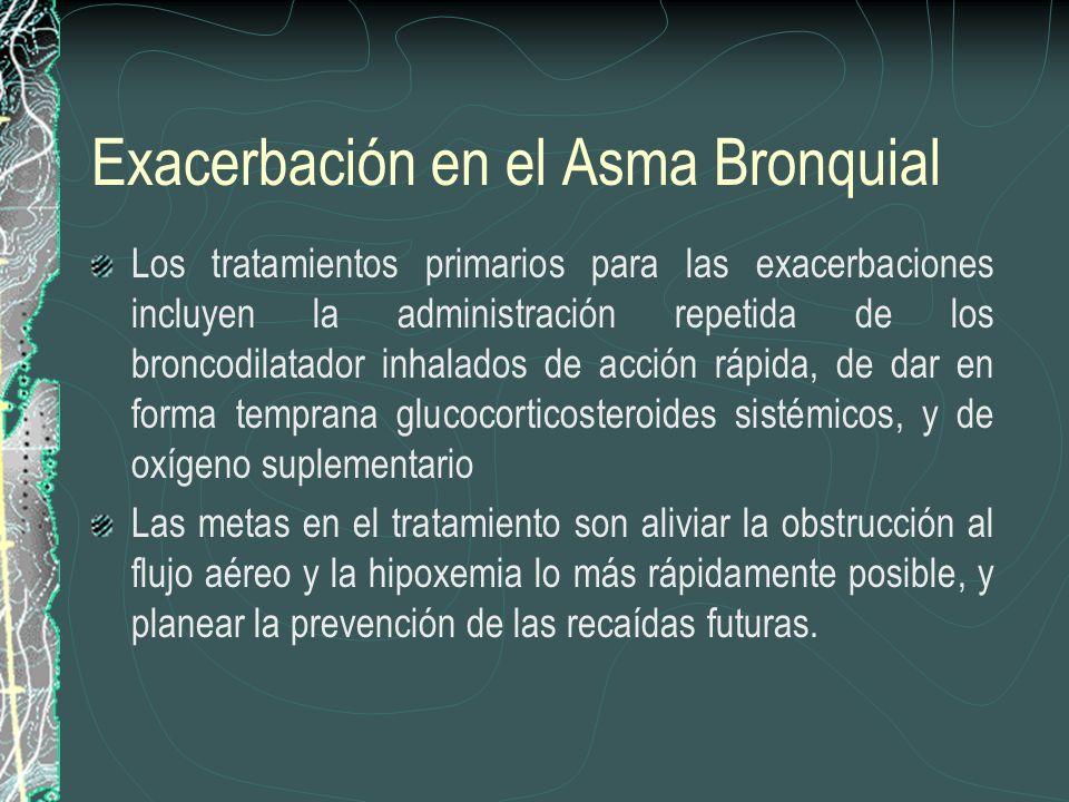 Exacerbación en el Asma Bronquial Los tratamientos primarios para las exacerbaciones incluyen la administración repetida de los broncodilatador inhala