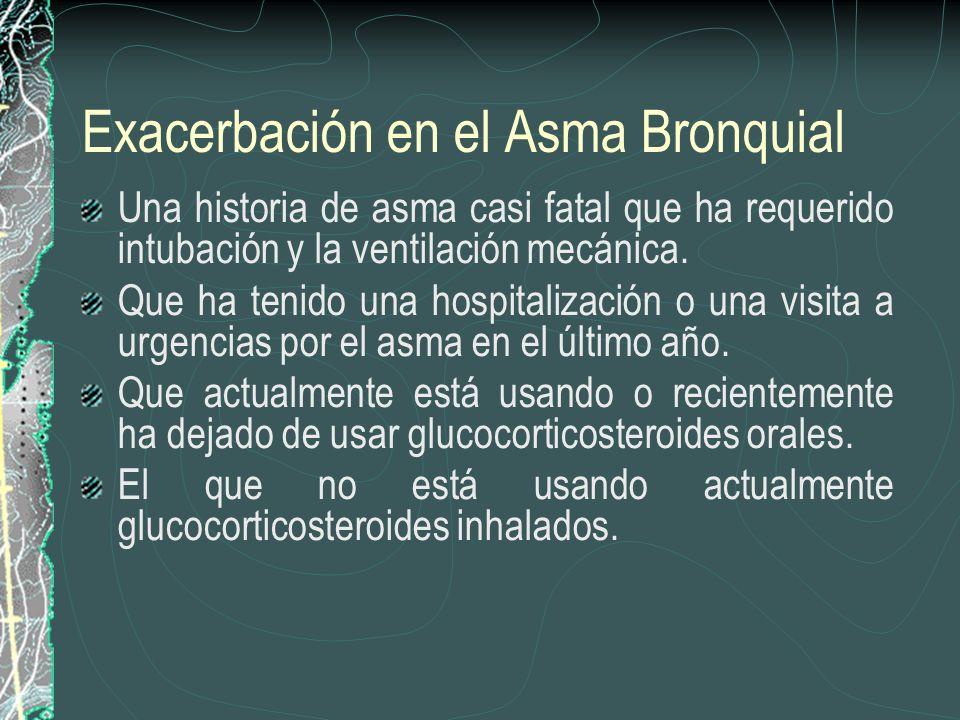Exacerbación en el Asma Bronquial Una historia de asma casi fatal que ha requerido intubación y la ventilación mecánica. Que ha tenido una hospitaliza