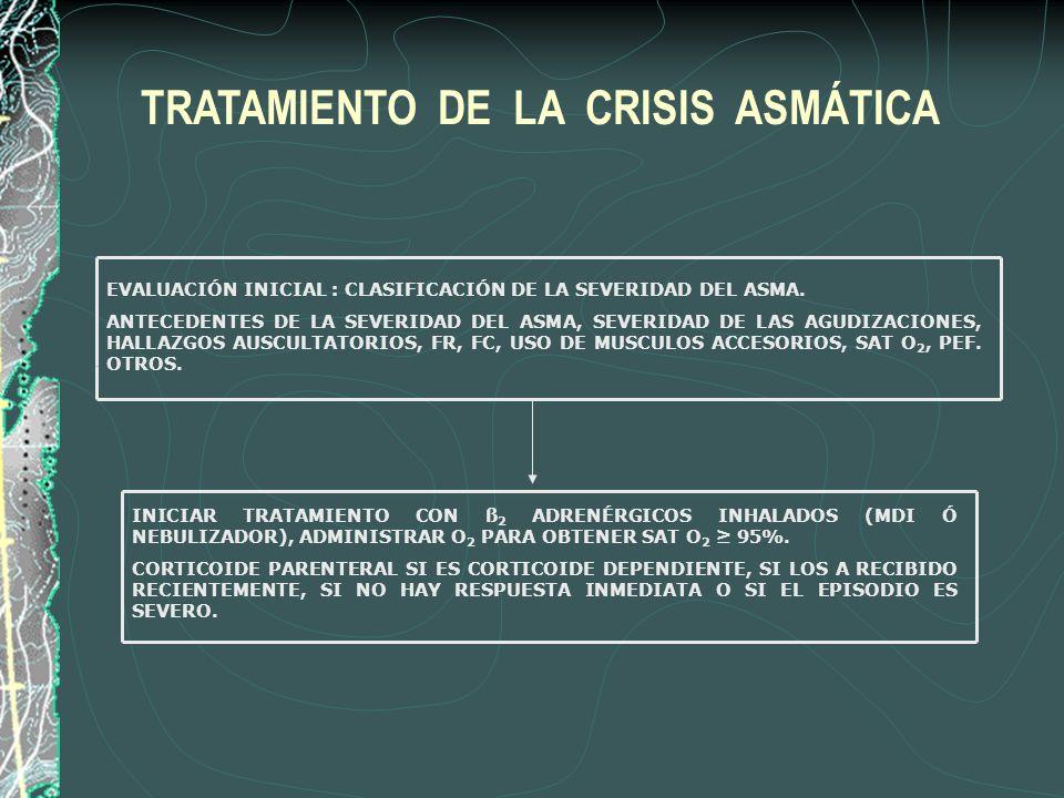 EVALUACIÓN INICIAL : CLASIFICACIÓN DE LA SEVERIDAD DEL ASMA. ANTECEDENTES DE LA SEVERIDAD DEL ASMA, SEVERIDAD DE LAS AGUDIZACIONES, HALLAZGOS AUSCULTA