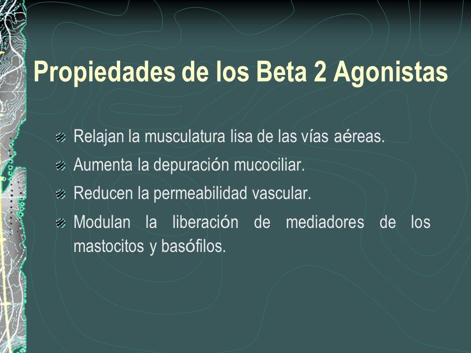 Propiedades de los Beta 2 Agonistas Relajan la musculatura lisa de las v í as a é reas. Aumenta la depuraci ó n mucociliar. Reducen la permeabilidad v