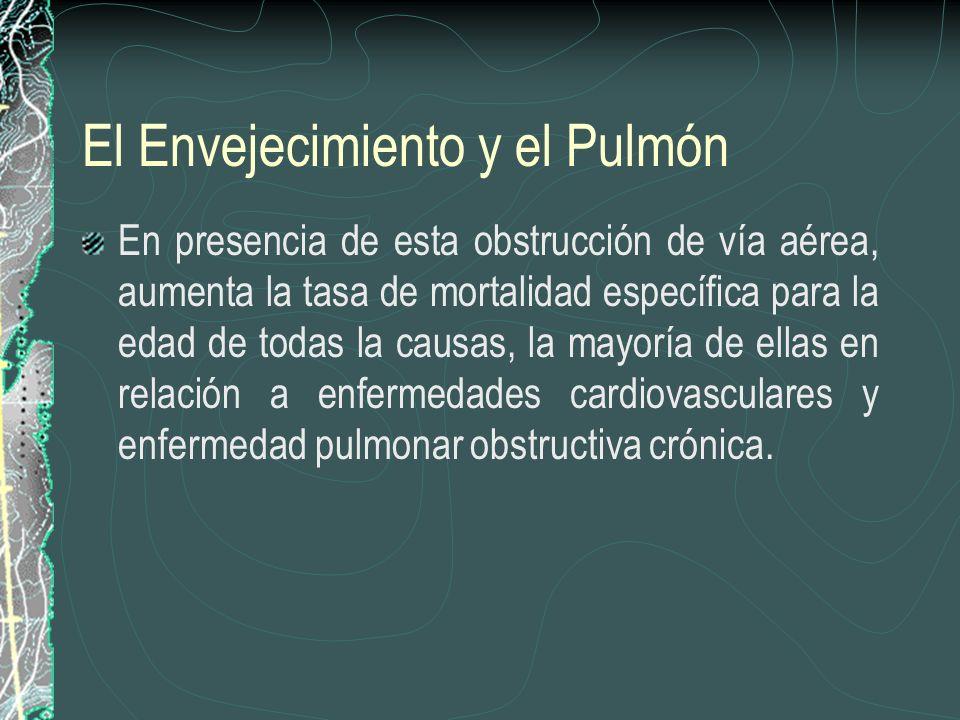El Envejecimiento y el Pulmón En presencia de esta obstrucción de vía aérea, aumenta la tasa de mortalidad específica para la edad de todas la causas,