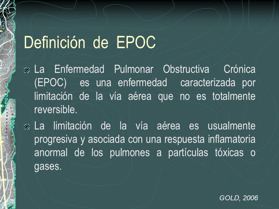 Definición de EPOC La Enfermedad Pulmonar Obstructiva Crónica (EPOC) es una enfermedad caracterizada por limitación de la vía aérea que no es totalmen
