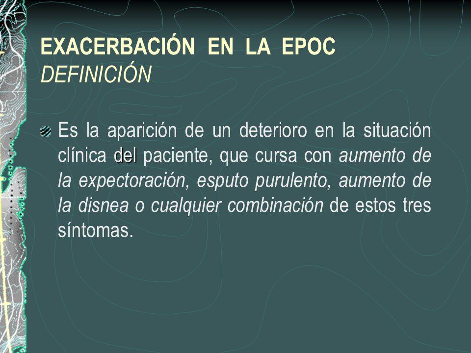 EXACERBACIÓN EN LA EPOC DEFINICIÓN del Es la aparición de un deterioro en la situación clínica del paciente, que cursa con aumento de la expectoración
