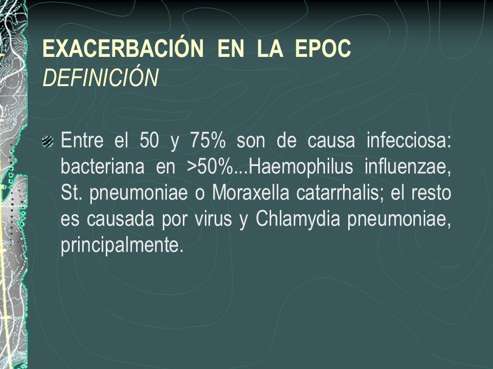EXACERBACIÓN EN LA EPOC DEFINICIÓN Entre el 50 y 75% son de causa infecciosa: bacteriana en >50%...Haemophilus influenzae, St. pneumoniae o Moraxella