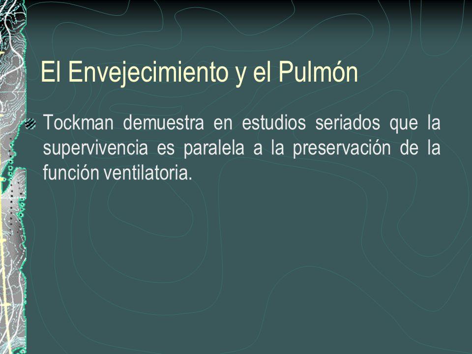 El Envejecimiento y el Pulmón Tockman demuestra en estudios seriados que la supervivencia es paralela a la preservación de la función ventilatoria.