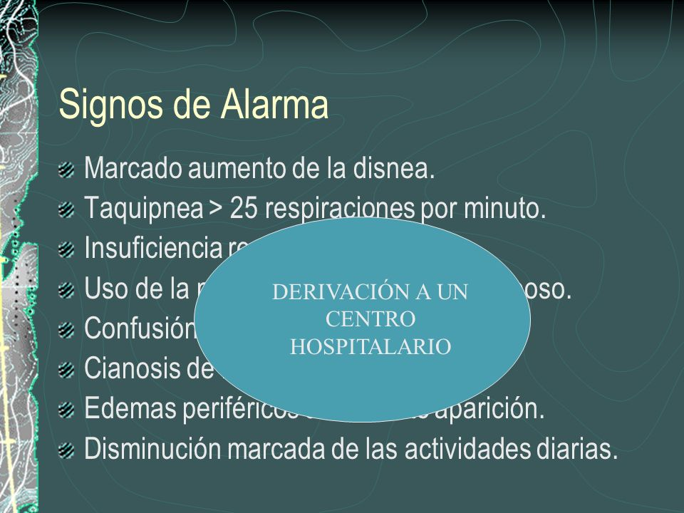 Signos de Alarma Marcado aumento de la disnea. Taquipnea > 25 respiraciones por minuto. Insuficiencia respiratoria. Uso de la musculatura accesoria en