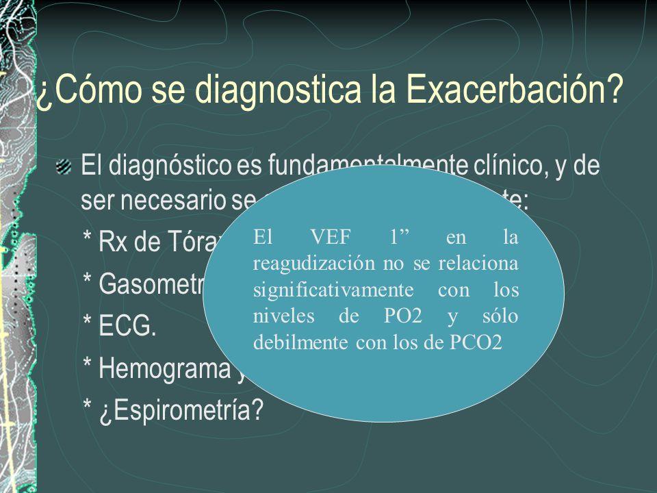 ¿Cómo se diagnostica la Exacerbación? El diagnóstico es fundamentalmente clínico, y de ser necesario se solicitará principalmente: * Rx de Tórax. * Ga