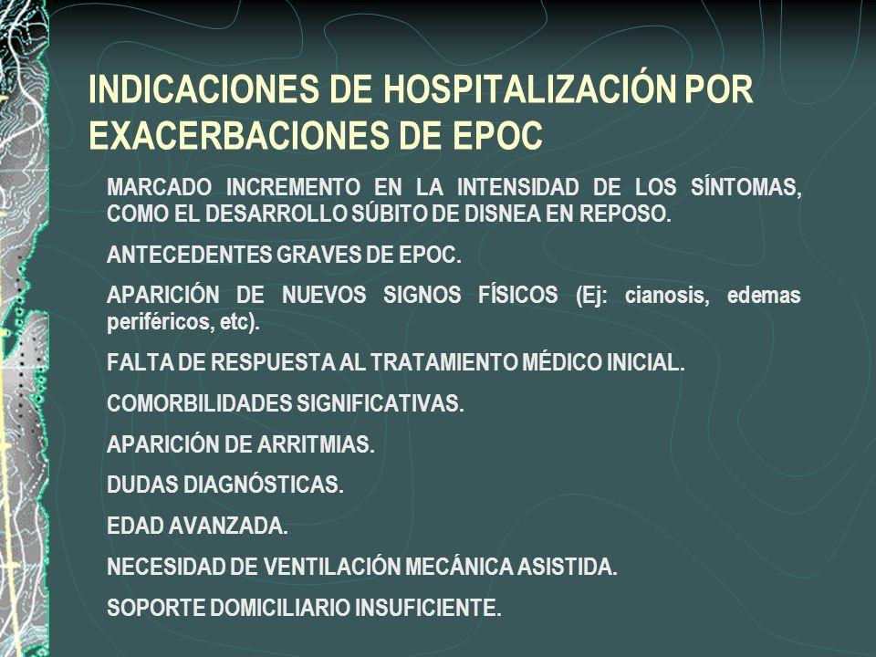 INDICACIONES DE HOSPITALIZACIÓN POR EXACERBACIONES DE EPOC MARCADO INCREMENTO EN LA INTENSIDAD DE LOS SÍNTOMAS, COMO EL DESARROLLO SÚBITO DE DISNEA EN