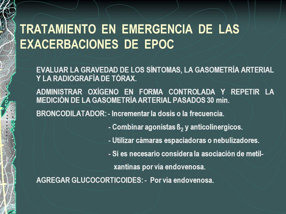 TRATAMIENTO EN EMERGENCIA DE LAS EXACERBACIONES DE EPOC 1. EVALUAR LA GRAVEDAD DE LOS SÍNTOMAS, LA GASOMETRÍA ARTERIAL Y LA RADIOGRAFÍA DE TÓRAX. 2. A