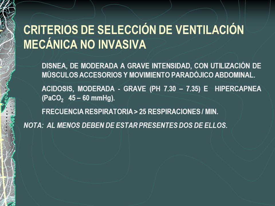 CRITERIOS DE SELECCIÓN DE VENTILACIÓN MECÁNICA NO INVASIVA 1. DISNEA, DE MODERADA A GRAVE INTENSIDAD, CON UTILIZACIÓN DE MÚSCULOS ACCESORIOS Y MOVIMIE