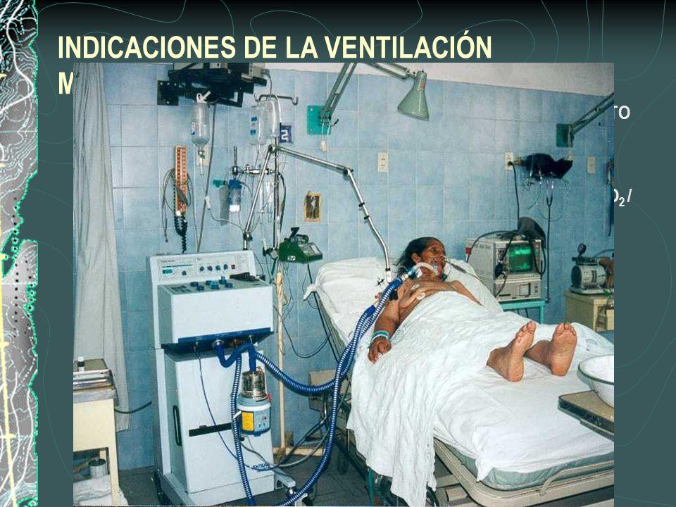 INDICACIONES DE LA VENTILACIÓN MECÁNICA INVASIVA 1. DISNEA GRAVE CON USO DE MUSCULOS ACCESORIOS Y MOVIMIENTO PARADÓJICO ABDOMINAL. 2. FRECUENCIA RESPI