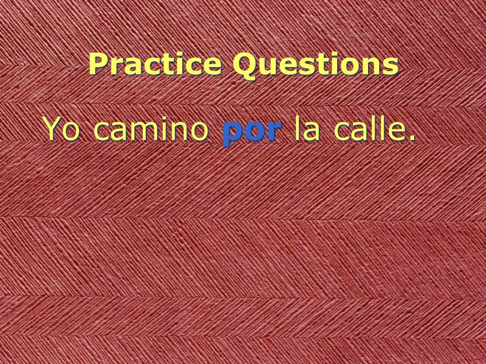Practice Questions Yo camino por la calle.