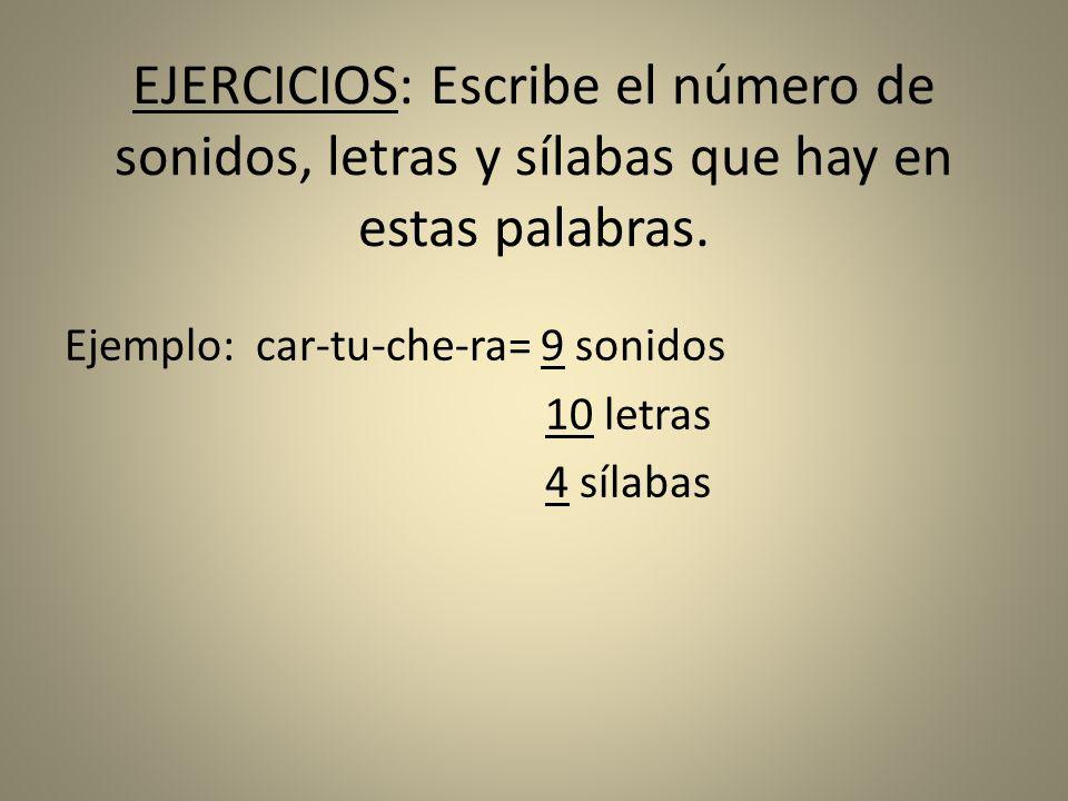 EJERCICIOS: Escribe el número de sonidos, letras y sílabas que hay en estas palabras. Ejemplo: car-tu-che-ra= 9 sonidos 10 letras 4 sílabas