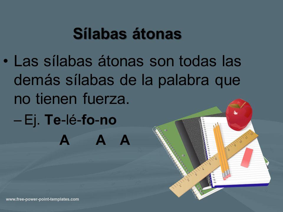 Sílabas átonas Las sílabas átonas son todas las demás sílabas de la palabra que no tienen fuerza. –Ej. Te-lé-fo-no A A A