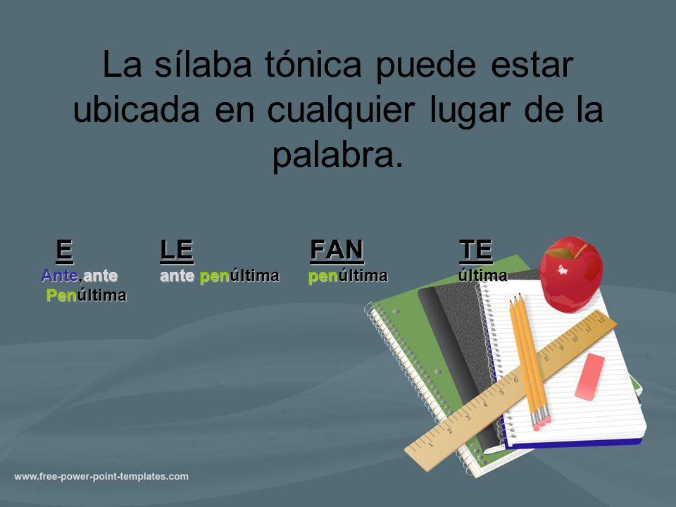 La sílaba tónica puede estar ubicada en cualquier lugar de la palabra. E LE FAN TE E LE FAN TE Ante,ante ante penúltima penúltima última Penúltima Pen