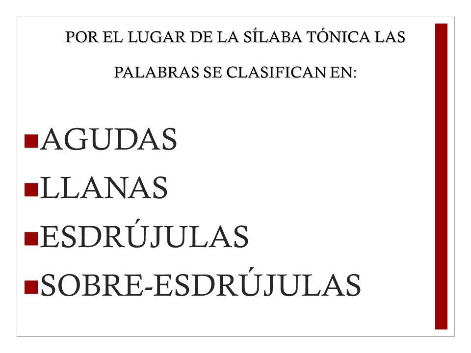 POR EL LUGAR DE LA SÍLABA TÓNICA LAS PALABRAS SE CLASIFICAN EN: AGUDAS LLANAS ESDRÚJULAS SOBRE-ESDRÚJULAS