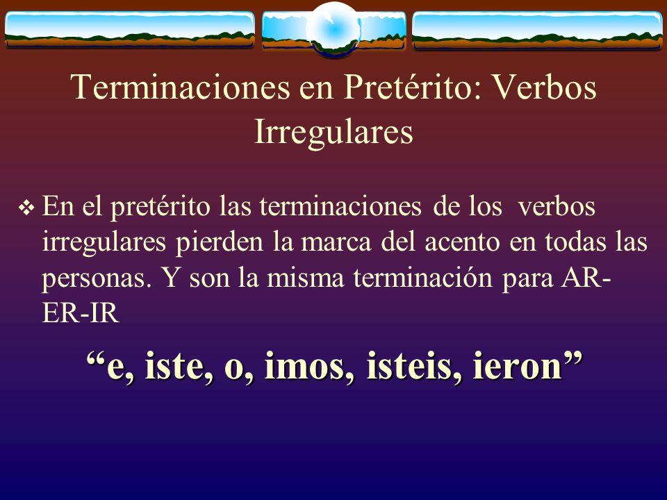 Hacer, Querer y Venir Los verbos HACER, QUERER Y VENIR sufren los siguientes cambios y pueden ser considerados verbos irregulares: La raíz va a cambiar a I en todas las personas.