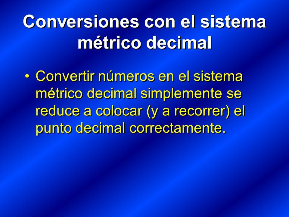 Conversiones con el sistema métrico decimal Convertir números en el sistema métrico decimal simplemente se reduce a colocar (y a recorrer) el punto decimal correctamente.